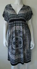 OCEAN BREEZE Black White Gray Dress Floral Print Short Sleeve Knee Length S NWT