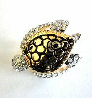 Sea Turtle Brooch Gold Plated Enamel Rhinestone Crystal Pin Valentines Day Gifts