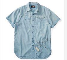 RRL Ralph Lauren Heavily Washed Cotton Chambray Flight Print Military Shirt- L