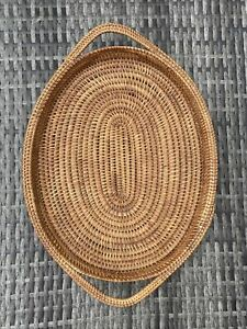Woven Oval Tray With Handles Tiki Retro
