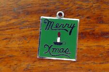 Candle Enamel Disc charm Wells Vintage sterling silver Merry Xmas Christmas
