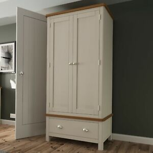 Dovedale Grey Painted Gents Wardrobe / Solid Wood Double Robe Storage