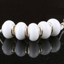5pcs Jelly White MURANO bead LAMPWORK suit European Charm Bracelet
