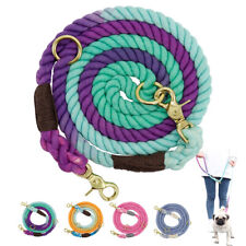 Braided Rainbow Rope Dog Lead Hands Pet Puppy Hands Free Walking Lead 2 O-ring