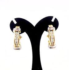 ESTATE 585 14K Yellow & White Gold DIAMOND HUGGIE OMEGA BACK EARRINGS