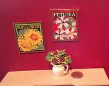Dollhouse Miniature set Seed Packet  Pictures & Pitcher of sunflowers 1:12 scale
