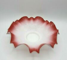 Antique Victorian Brides Bridal Bowl Cranberry Red and White Ruffled Edge