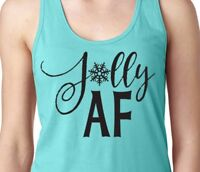 JOLLY AF Snowflake Winter Xmas Holiday Cheer Santa Women's Racerback Tank Top