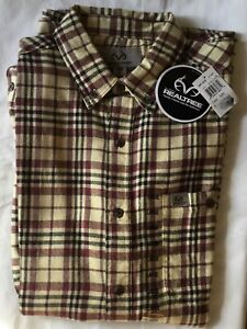 NEW Real Tree Flannel Shirt Mens Large or Extra Large Ivory Plaid 100% Cotton