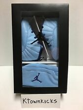 Nike Jordan 12 Retro Baby Hat Crib Shoes Gift Pack Blue 378139 418 Size 3C