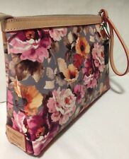 NWT Cavalcanti Italy Leather Floral Wristlet Cosmetic Makeup Bag Clutch Large