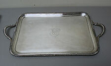 "19th C. ENGLISH OLD SHEFFIELD PLATE (OSP) SILVER PLATE 19"" ENGRAVED SERVING TRAY"