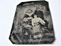 ORIGINAL Antique 1870s-1880s, Victorian Family Group-Tintype PHOTO.
