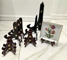 Lot of 12 Wooden Folding Plate Display Easel Stands Hinged Perfect Condition