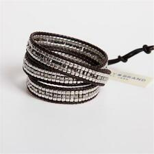 Lucky Brand Silver Beaded Leather Wrap Bracelet w Button Closure