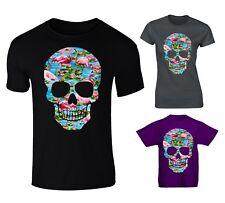 Flamingo Tropical Patterned Skull T-shirt - Mens, Womens, Kids Sizes