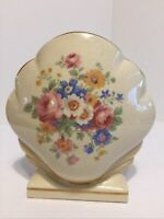 Vintage Clam Shell Shaped Ceramic Vase With Flowers & Gold Trim