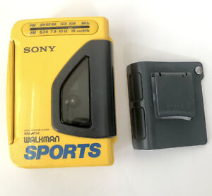 Vintage AM/FM CASSETTE SONY Yellow SPORTS WALKMAN WM-AF54 - Tested and Working