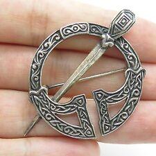 Vintage Sterling Silver Carved Celtic Ornament Design Open Circle Round Brooch