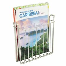 mDesign Metal Wall Mount Magazine, Book Holder, Compact Rack - Satin