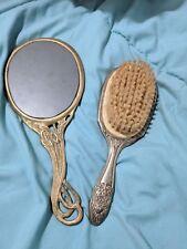 Antique Art Nouveau Brass Hand Mirror