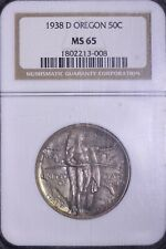 1938-D Oregon Trail Commem Silver Half Dollar NGC MS65   1-15ACBT