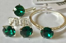 J Francis Crystal Swarovski -Emerald  Crystal Solitaire Ring, studs pendant  T