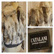 Vintage FUR COAT~Brown/Gray/Black Rabbit Bomber Jacket 42B 40W L/XL Catalani