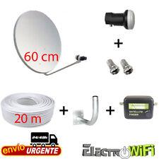EKSELEANS (RS.KIT9) - Kit Antena Parabólica GI 60 cm, LNB, Soporte, 20 m Cable Coaxial y Localizador