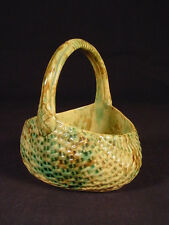 VERY RARE 1800s SIGNED DUNMORE GREEN & BROWN MULTIGLAZE BASKET YELLOW WARE MINT