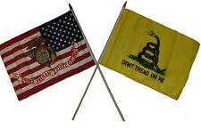 "12x18 12""x18"" Wholesale Combo EGA USA USMC & Gadsden Don't Tread Stick Flag"