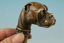 Chinese Old bronze handwork carved lucky dog statue walking stick cane head