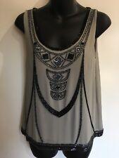 Grace Hill Designer Fashion Art Deco Style Sequins Grey Black Formal Top Size 8