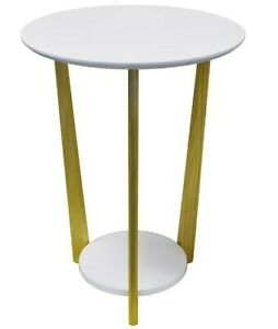 ORBITAL - Retro Wood Round Side Table with Shelf - Natural / White - New