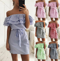 Fashion Plus Size Women Mini Dress Holiday Off Shoulder Bardot Summer Frill Tops