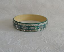 Art Deco Celluloid Bakelite Bangle Bracelet - Green, Rhinestones Fancy Design