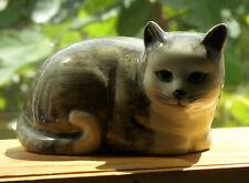 Quail Cat 'Sophia', grey & white, resting cat ornament, hand-painted, vintage
