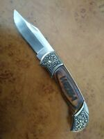 VINTAGE 1990 STAINLESS TAIWAN HUNTER LOCKBACK KNIFE GOOD -EXCELLENT COND.