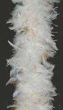 80 Gram Chandelle Boa WHITE with GOLD LUREX : Halloween/Costume/Mardi-Gras