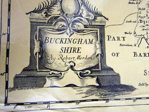 1970s Replica of 18th Century County map of Buckinghamshire by Robert Morden