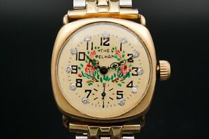 Unique Waltham 0s 16j Wristwatch with Handmade Diamond Dial in 14k Gold Case