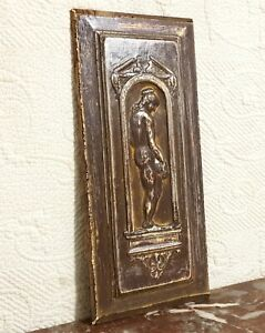 Lady victorian pediment wood carving panel Antique french architectural salvage