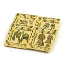 4 Maison de poupées miniature victorien robe motif paquets (vdps01)