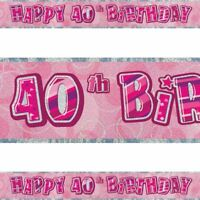 12Ft Long 40th Pink Birthday Holographic Banner Party Decorations Party Supply