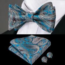 USA Blue Gray Paisley Self Bow Tie Classic Mens Silk Necktie Bowtie Set Party