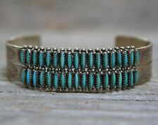 Beautiful Old Zuni Sterling Silver Needle Point Turquoise Cuff Bracelet