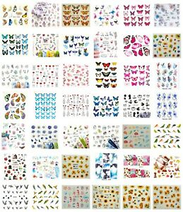 Nail Water Decal Stickers, Nail Art Decoration Butterfly Flowers Love Cute, UK