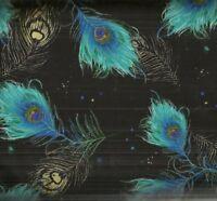 Plume moonlight falling feathers metallic Timeless Treasures fabric