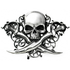 ALCHEMY PIRATE SKULL & CROSSED SABRES BELT BUCKLE 'Letter of Marque' PEWTER GOTH
