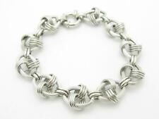 14k White Gold Cable Design Italian Made Toggle Lock Charm Bracelet Gift